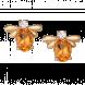 Bông tai PNJ vàng 18K đính đá Citrine