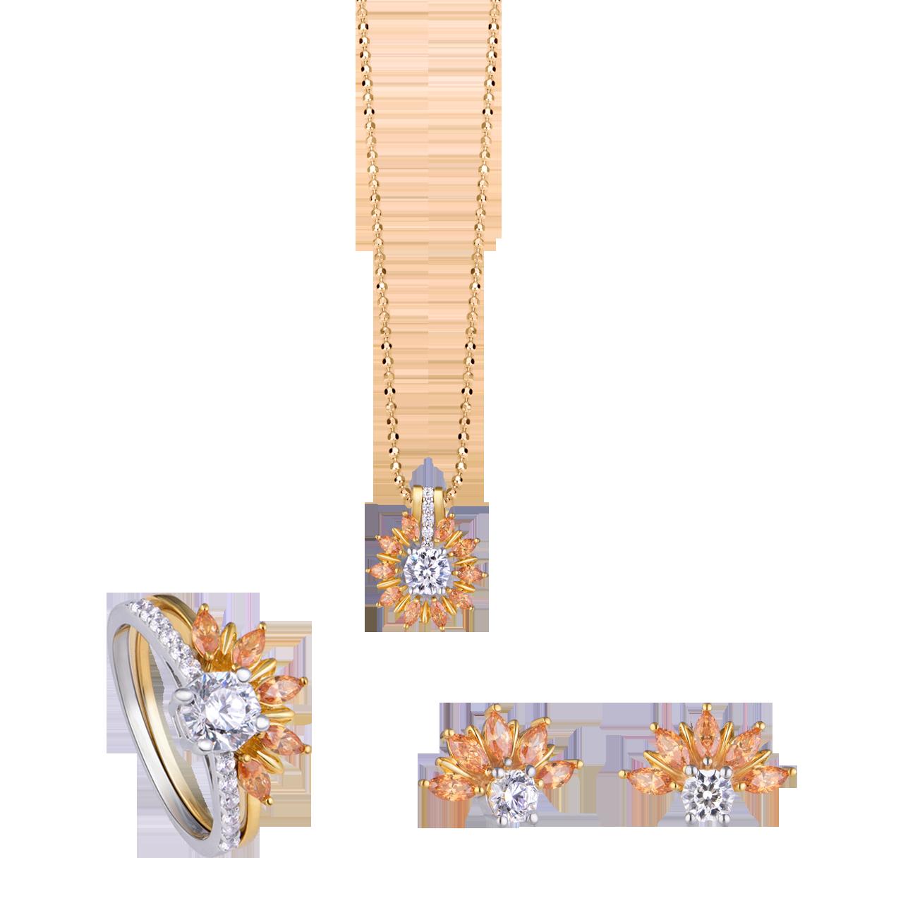Bộ trang sức vàng PNJ SunCut vàng 10k đính đá màu vàng Swarovski