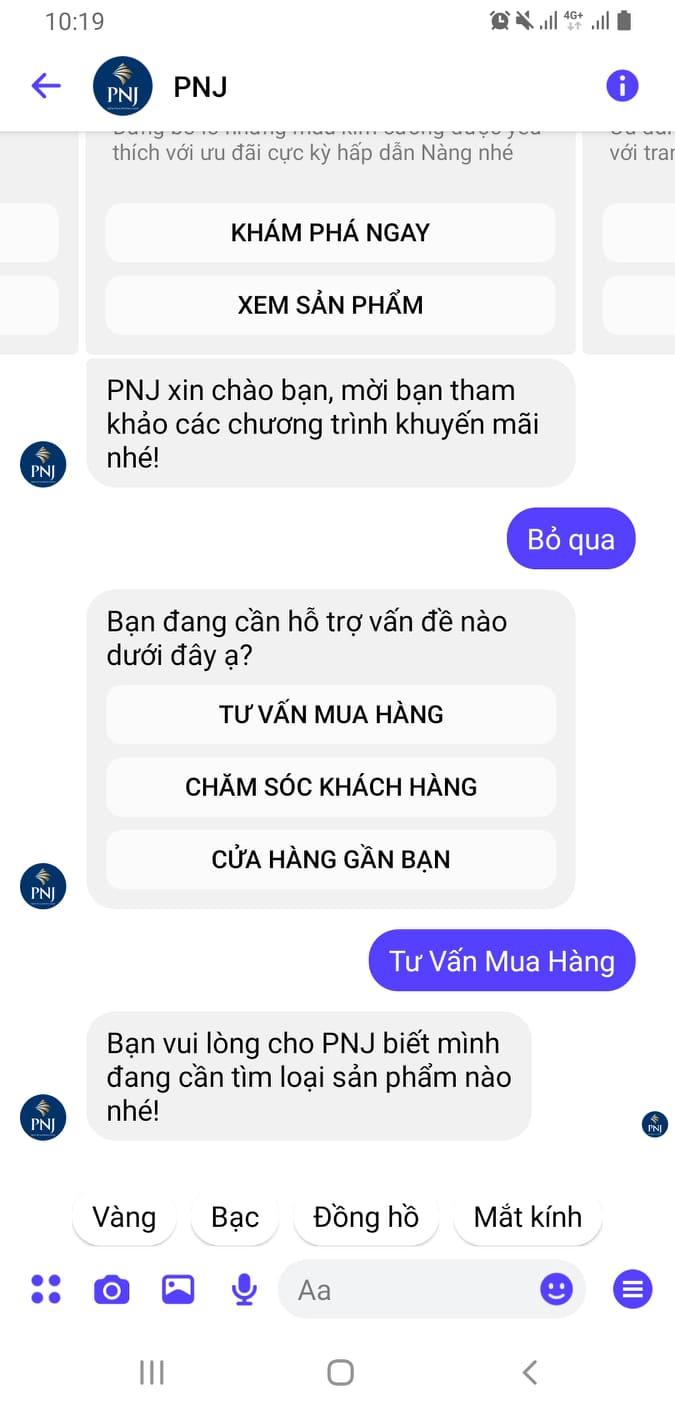 Chat với Tư vấn viên qua Fanpage PNJ