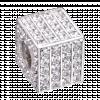 Hạt Charm Me PNJ Vàng trắng Ý 18K hình lập phương đính đá