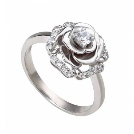 Nhẫn PNJ Hoa hồng Vàng trắng 10K đính đá ECZ