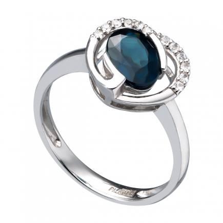 Nhẫn PNJ Vàng trắng 14K đính đá Sapphire