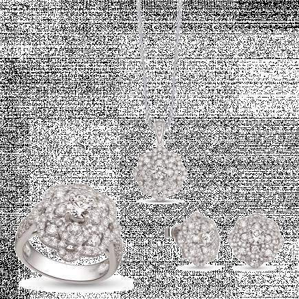 Bộ trang sức Kim cương PNJ vàng trắng 14K