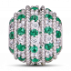 Hạt Charm Me PNJ Vàng trắng Ý 18K hình tròn đính đá màu xanh