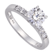 Nhẫn Vàng trắng 10K đính đá ECZ Swarovski PNJ XMXMW000093