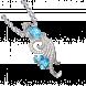 Mặt dây chuyền PNJ Phượng Hoàng Vàng Trắng 14K đính đá Topaz