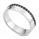 Nhẫn bạc nam PNJSilver Friendzone Breaker đính đá màu đen