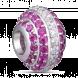 Hạt Charm Me PNJ Vàng trắng Ý 18K hình tròn dẹt đính đá màu hồng