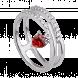 Nhẫn bạc PNJSilver Fantasia đính đá màu đỏ 92633.404