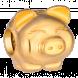 Vòng tay Charm PNJ hình con heo vàng 24K dây màu đen 96573.001