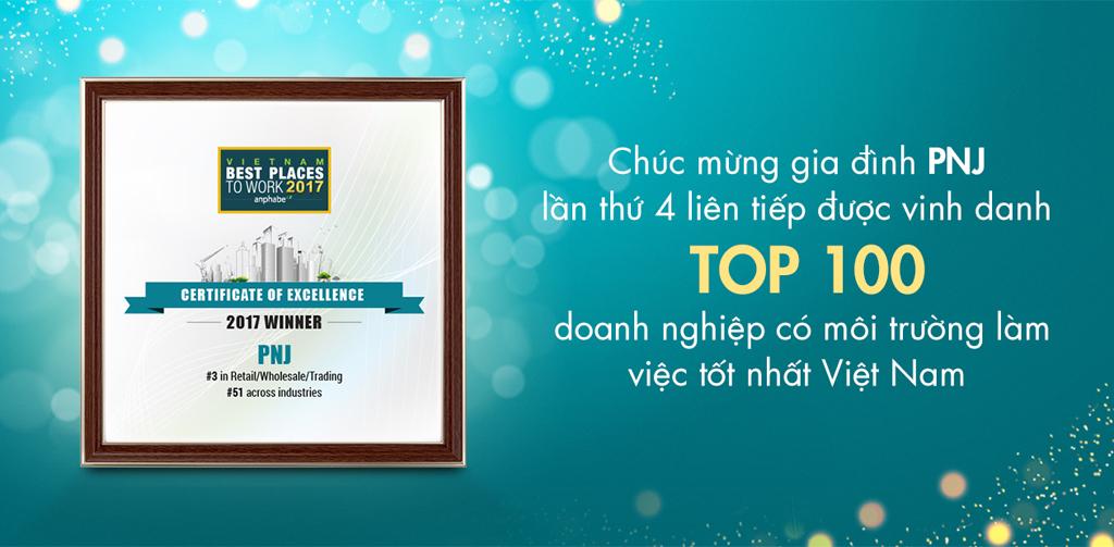 PNJ tiếp tục được vinh danh Top 100 môi trường làm việc tốt nhất Việt Nam năm 2017